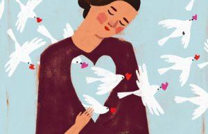 mujer palomas que brotan corazón