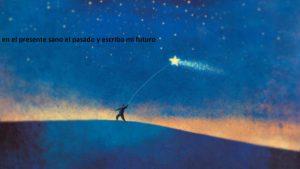 Ilustración de silueta con cometa de estrella
