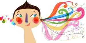 dibujo con muchos coclores de mujer que le entran y salen cintas de colores por los oidos en señal que escucha